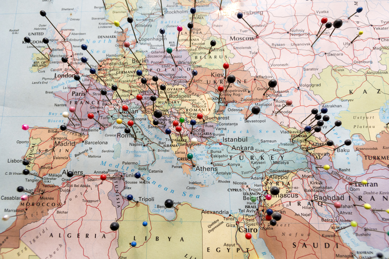 European And North African Map Pinned