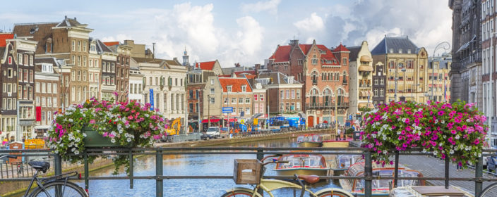 Amsterdam, capital of the Netherlands, has more than one hundred kilometres of canals, about 90 islands and 1,500 bridges.