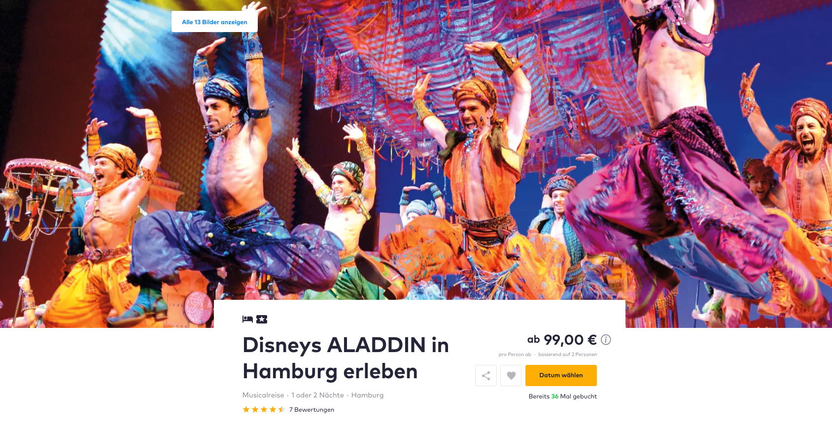 disneys aladdin musical 4 hotel in hamburg inkl fr hst f r 99. Black Bedroom Furniture Sets. Home Design Ideas