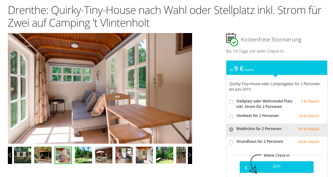 Camping in Holland 3 Tage Tiny House, Waldhütte oder Strandhaus schon ab 39€ pro Person