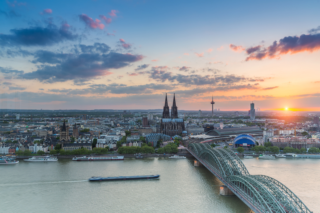 Cologne city at sunset with cathedral