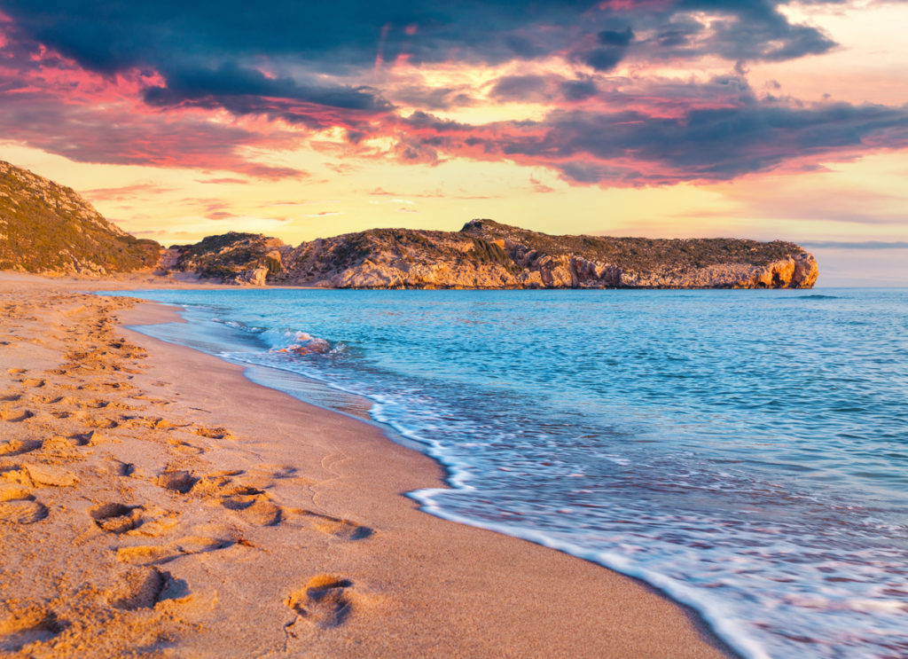 Footprints in the sand on the famous Turkish beach Patara